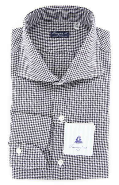 New $425 Finamore Napoli Charcoal Shephard's Shirt - Slim - (F116189) - Parent