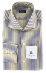 New $425 Finamore Napoli Gray Striped Shirt - Slim - 15.5/39 - (FN88174)