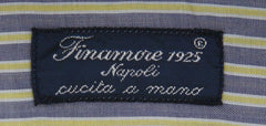 New $425 Finamore Napoli Gray Striped Shirt - Slim - (FN88174) - Parent