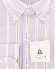New $425 Finamore Napoli Lavender Purple Striped Shirt - Slim - (2018031422) - Parent