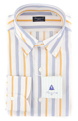 New $425 Finamore Napoli Yellow Striped Shirt - Slim - 16/41 - (2018031425)