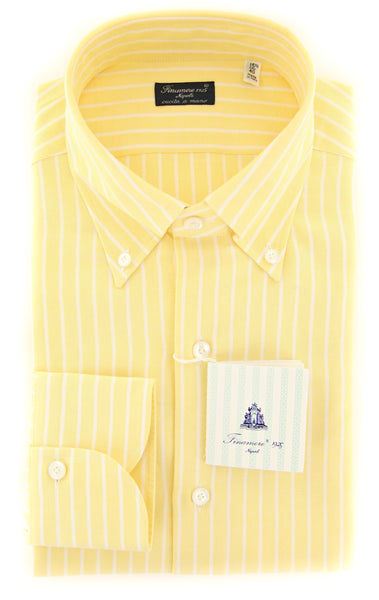 New $425 Finamore Napoli Yellow Striped Shirt - Slim - (2018030119) - Parent