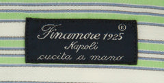 New $425 Finamore Napoli Light Green Striped Shirt - Slim - (2018030127) - Parent