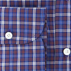 New $425 Finamore Napoli Dark Blue Plaid Shirt - Slim - (FN825178) - Parent
