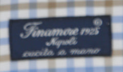 $600 Finamore Napoli White Check Cotton Blend Shirt - Slim - (945) - Parent