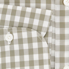 $600 Finamore Napoli Light Brown Check Cotton Shirt - Slim - (740) - Parent