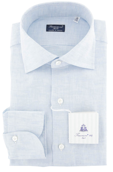 $600 Finamore Napoli Light Blue  Solid  Linen Shirt - Slim - (903) - Parent