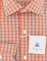 $600 Finamore Napoli Orange Check Cotton Shirt - Slim - (739) - Parent