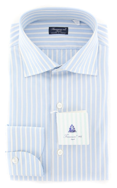 New $425 Finamore Napoli Light Blue Striped Shirt - Slim - (FN829174) - Parent