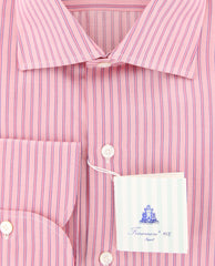 New $425 Finamore Napoli Pink Striped Shirt - Slim - (FN881710) - Parent