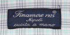 New $425 Finamore Napoli Light Gray Plaid Shirt - Slim - (FN85172) - Parent