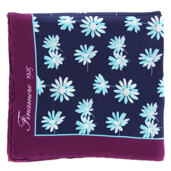 "New $120 Finamore Napoli Navy Blue Floral Pocket Square - 13"" x 13"" - (PSQX29)"