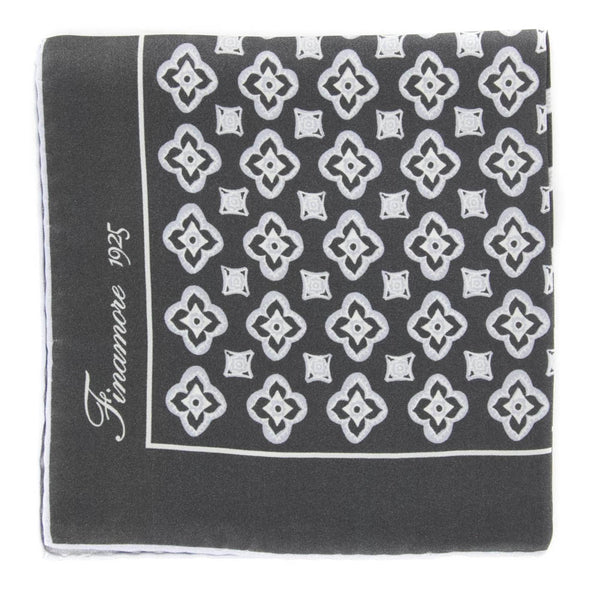 "New $120 Finamore Napoli Gray Foulard Pocket Square - 13"" x 13"" - (PSQX91)"