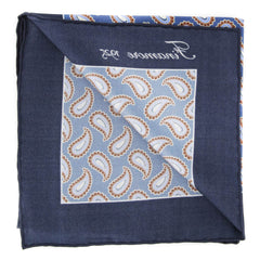 "New $120 Finamore Napoli Blue Paisley Pocket Square - 13"" x 13"" - (PSQX21)"