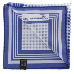 "New $120 Finamore Napoli Navy Blue Check Pocket Square - 13"" x 13"" - (PSQX55)"