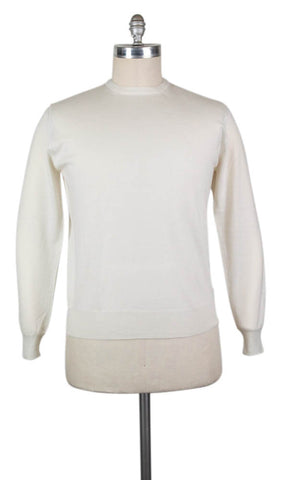 Finamore Napoli Cream Cashmere Sweater - Size: X Large US / 54 EU