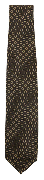 "$195 Finamore Napoli Dark Brown Polka Dot Silk Tie - 3"" x 58.5"" - (563)"