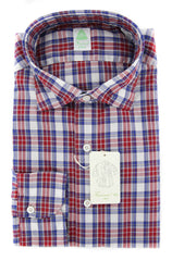 New $375 Finamore Napoli Red Plaid Shirt - Extra Slim - XL/XL - (26SEN01168203)