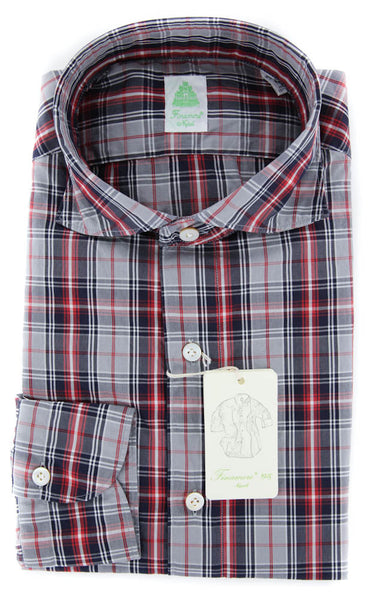 New $375 Finamore Napoli Red Plaid Shirt - Extra Slim - M/M - (27SEN01169101)