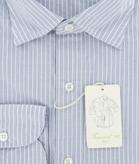 New $375 Finamore Napoli Blue Shirt - Extra Slim - 17/43 - (27SEN01171202)