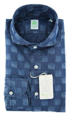 $375 Finamore Napoli Denim Blue Shirt - Size 15 (US) / 38 (EU) - (30STP01185301)