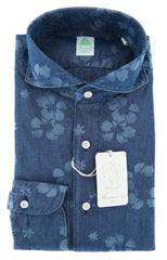 $375 Finamore Napoli Denim Blue Shirt - Size 15 (US) / 38 (EU) - (SEN01185302)