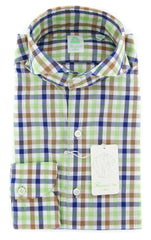 New $375 Finamore Napoli Green Shirt - Extra Slim - 14.5/37 - (30SEN01185602)