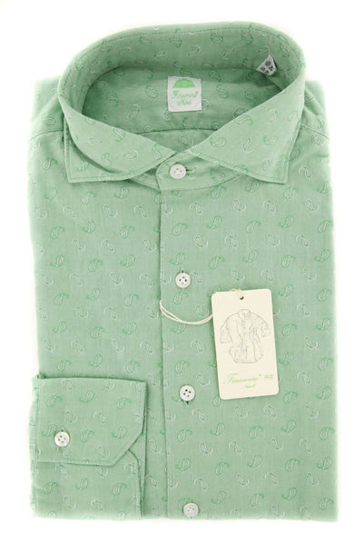New $375 Finamore Napoli Green Shirt - Extra Slim - 15.5/39 - (26SEN08017719)