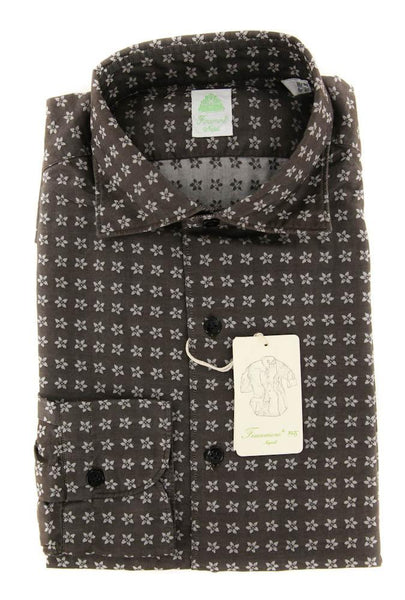 New $375 Finamore Napoli Brown Floral Shirt - Extra Slim - S/S - (25SEN08024601)