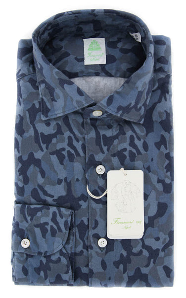 New $375 Finamore Napoli Blue Shirt - Extra Slim - 15.75/40 - (SEN08114803)