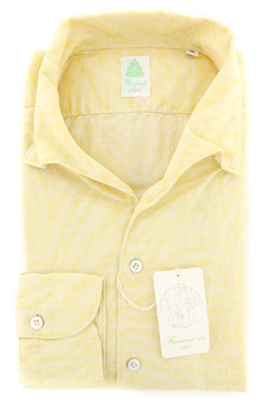 New $375 Finamore Napoli Yellow Shirt - Extra Slim - 16/41 - (SEN08116803)