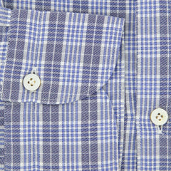 New $375 Finamore Napoli Blue Plaid Shirt - Extra Slim - 17/43 - (SEN98000201)