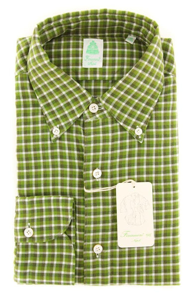 New $375 Finamore Napoli Green Shirt - Extra Slim - 16/41 - (SEN98009104)