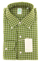 New $375 Finamore Napoli Green Shirt - Extra Slim - 15.75/40 - (SEN98009104)