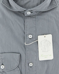 New $375 Finamore Napoli Light Gray Solid Shirt - Extra Slim - (FNSEER131) - Parent