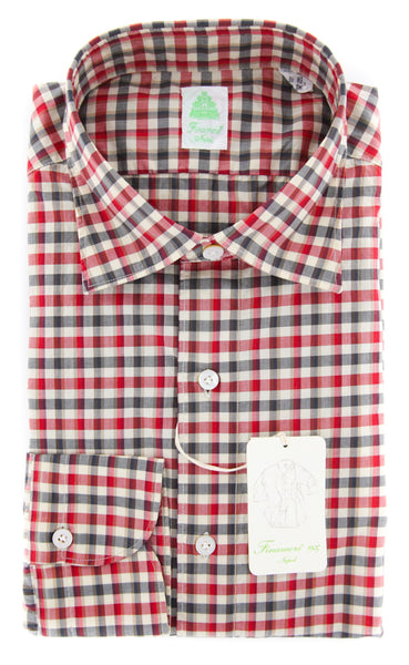 New $375 Finamore Napoli Red Check Shirt - Extra Slim - 15.75/40 - (SENX242)