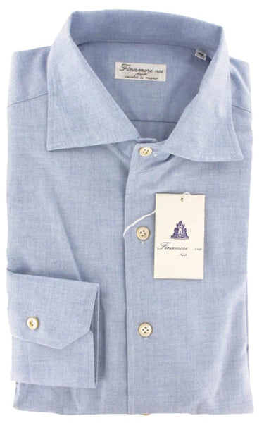 $425 Finamore Napoli Light Blue Melange Cotton Shirt - Slim - (FN255) - Parent