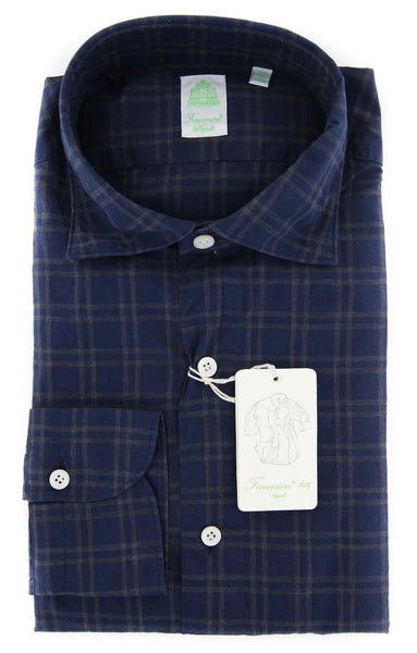 $375 Finamore Napoli Navy Blue Plaid Shirt - Extra Slim - (FNSHRTNBLUY7) - Parent