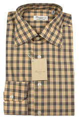 $375 Finamore Napoli Orange Plaid Cotton Shirt - Slim - 15.75/40 - (485)