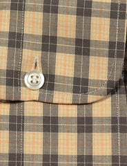 $375 Finamore Napoli Orange Plaid Cotton Shirt - Slim - (485) - Parent