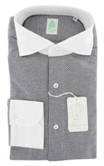 $375 Finamore Napoli Gray Other Stretch Shirt - Extra Slim - (WH) - Parent