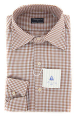 New $425 Finamore Napoli Brown Check Shirt - Slim - 16/41 - (26SS281011206)