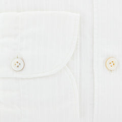 New $375 Finamore Napoli White Striped Shirt - Extra Slim - L/L - (SS008010302)