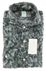 New $375 Finamore Napoli Dark Green Shirt - Slim - (STP01SERGIOZX) - Parent