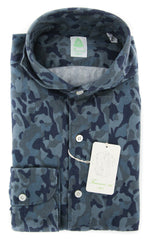 New $375 Finamore Napoli Blue Camouflage Shirt - Slim - (STP03SERGIOZ) - Parent