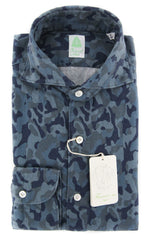 New $375 Finamore Napoli Blue Shirt - Slim - (STP03SIMONEZ) - Parent