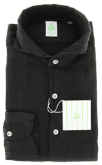 New $375 Finamore Napoli Black Shirt - Extra Slim - XL/XL - (24STP97000008)