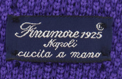 "$195 Finamore Napoli Purple Polka Dot Knit Tie - 2"" x 57"" - (84)"