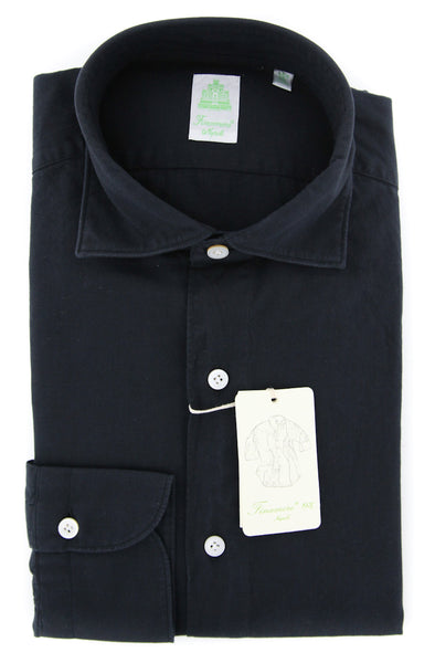 New $375 Finamore Napoli Black Solid Shirt - Extra Slim - (2018022721) - Parent