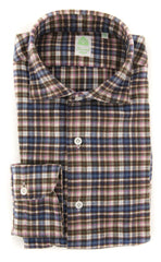 New $375 Finamore Napoli Brown Plaid Shirt - Extra Slim - 15.75/40 - (F122181)